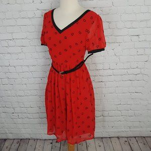 Max Mara V-Neck Red Dress Hearts Belted Silk sz S